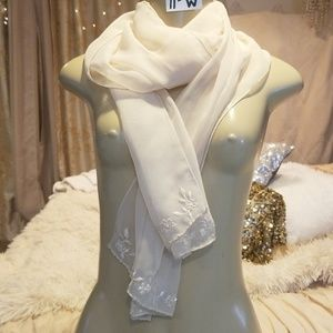 Beige lightweight embroidered beaded scarf